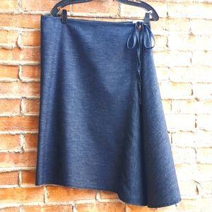 Benetton Asymmetrical Jean Midi Skirt